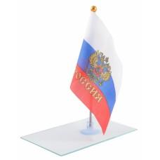 Знаме на Русия с герб 14 х 21 см.